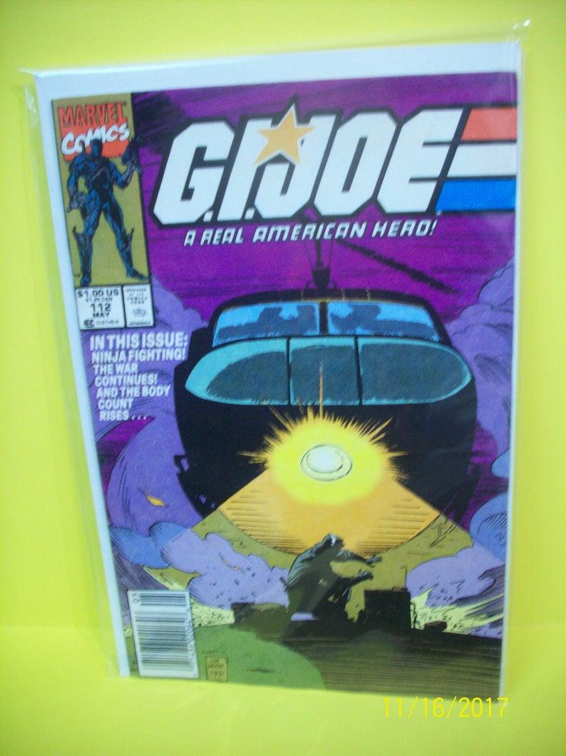 GI Joe #112 Marvel Comics Snake Eyes Storm Shadow Joe Ninjas Vs Cobra  Ninjas, Good Condition Lots of Cover Creases 1991 Vintage Comic Book