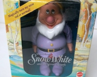 1992 Walt Disney Sneezy Dwarf Figure From  Snow White And The Seven Dwarfs Mattel Figure New in Box - Nose Turns Red Or Normal