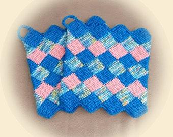 Tunisian crocheted pot holders * handmade * turquoise/colorful