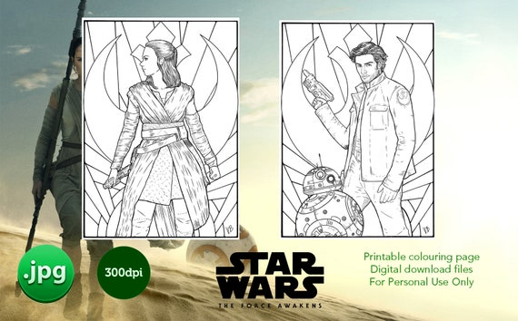 Star Wars Colouring Pack Rey Poe And Bb 8 Digital Download Etsy