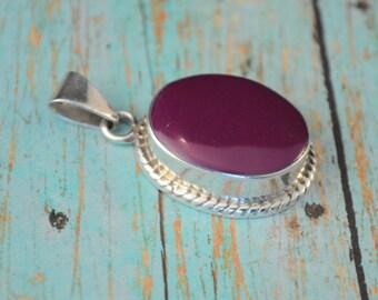 Sterling silver purple agate pendant MEX925 sterling purple pendant LT1402