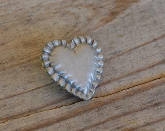 """Silver heart brooch Heart jewelry heart pin valentines gift pillow heart brooch pillow heart pin 1"""" pin love  DF354"""
