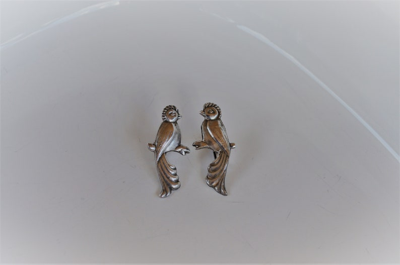 6ff2cd029 Vintage silver handmade Mexico peacock earrings screw on | Etsy