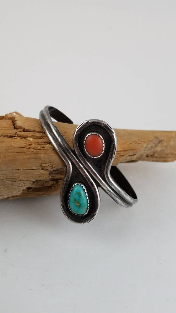 Native American Sterling turquoise et corail cuff bracelet   Etsy 68921570466