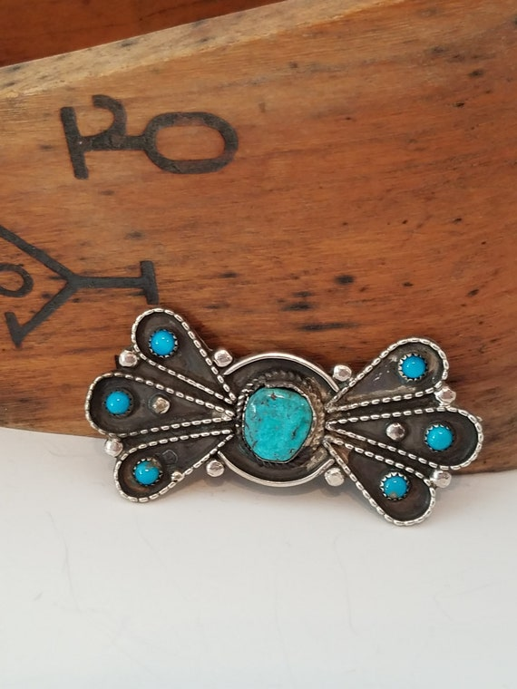 Vintage Native American Turquoise bow tie pin broo