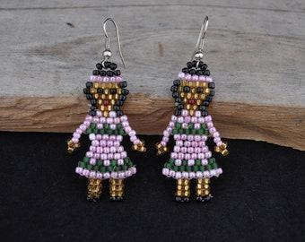 Indian girl jewelry beaded earrings hook earrings pink earrings JS1112