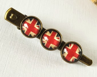 Union Jack Hair Clip, Union Jack Flag, British Flag, UK Flag, Vintage Flag, Union Jack Flag Barrette, Gift For Her, Gift For Women