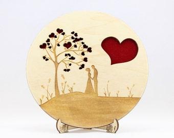 Engagement Ring Box Engraved Laser Cut Wedding Rings Holder Ring Bearer Box Handmade Personalized Rustic Ring Dish Ring Bowl Rings