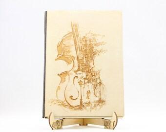 Unique Alternative Guest Book Wood Custom Engraved Guest book Violin Music Notes Romantic Love Guestbook Music Notes Violin Guestbook