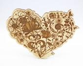 Wooden Heart Laser Cut In...