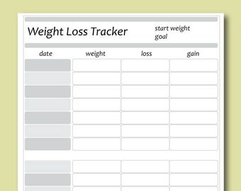 weight loss tracker weight loss log weight loss journal etsy