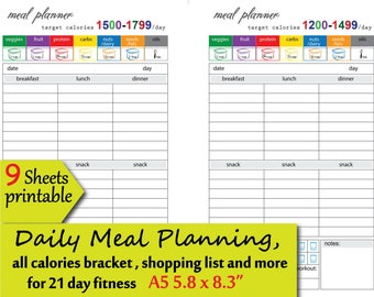 photograph relating to 21 Day Fix Meal Planner Printable identify 21 working day repair service dinner software Etsy