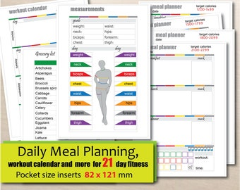 printable pocket size insert 47 x 32 1200150018002100 calories tracker and more for 21 day diet planner instant download