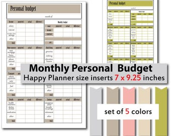 printable monthly budgeta5 finance planner monthly budget etsy