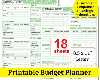 mini happy planner inserts printable monthly personal budget etsy