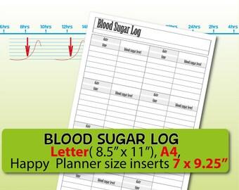 blood sugar log etsy