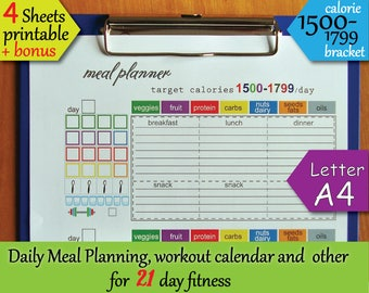 21 Day Fitness Printables Tracking Sheet 1500 Calorie Bracket Meal Planner Workout Calendar Shopping List Instant Download PDF