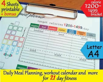 21 day fitness 1200 calories tracker food journal grocery list workout calendar and more easy to use 21 day planner instant download