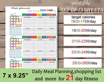 picture relating to 21 Day Fix Meal Planner Printable named 21 working day restore Etsy