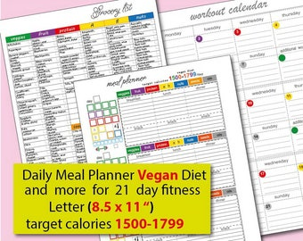 21 Day Meal Plan For Vegan Diet 1500 Calories Tracker Meal Etsy