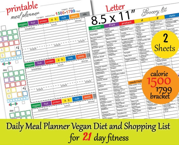 Meal Plan For Vegan 21 Day Fitness 1500 Calories Tracker Etsy