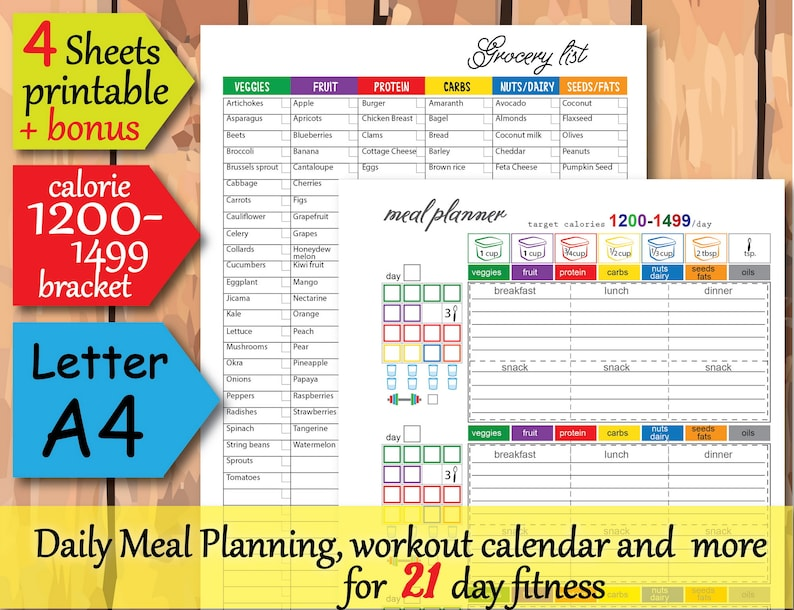 photograph about Printable 1200 Calorie Meal Plan identified as 1200 calorie diet plan method, 1200 Energy Tracker, Foodstuff magazine, Grocery Checklist, and additional Basic towards Seek the services of 21 working day planner- Immediate Obtain