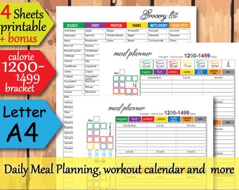 21 day meal planner, 1200 calorie diet plan, Food journal, Grocery List,  and more Easy to Use 21 day planner- Instant Download