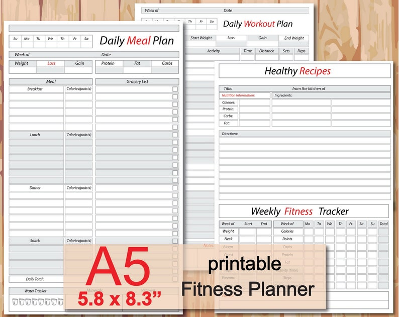 graphic relating to Weight Loss Journal Printable known as foods observe printable, evening meal planner, fat decline magazine, filofax a5 add, work out template, a5 recipe inserts- Instantaneous Obtain