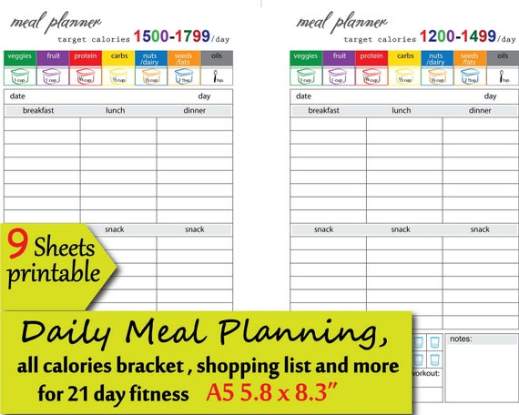 graphic about Printable 1200 Calorie Meal Plan known as meals observe 21 times of diet plan repair service 1200,1500,1800,2100,2300 energy bracket, printable dinner system and extra,a5 planner incorporate - fast down load