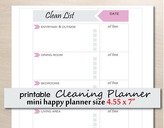 Cleaning Checklist Printable Cleaning Schedule Mini Happy Clean Insert Printable Cleaning Planner Cleaning Templates Instant Download