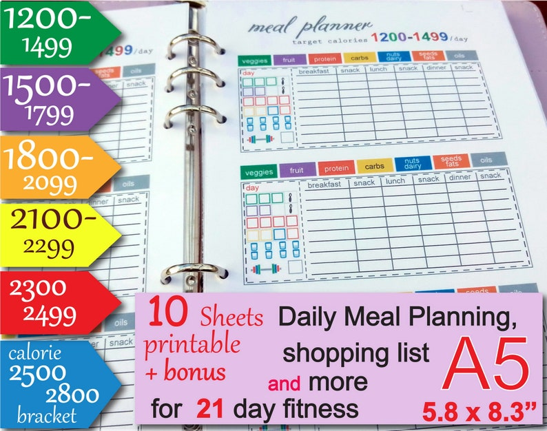 21 day meal planner 1200,1500,1800,2100,2300,2500 Calories Tracker, a5  planner inserts, Grocery List and more Easy to Use 21 day diet - PDF