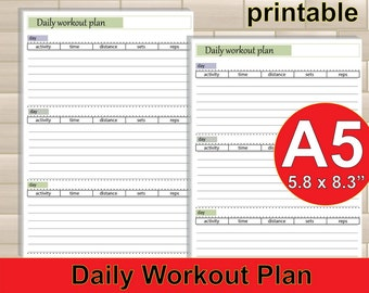 workout journal, a5 inserts , workout log, filofax a5, fitness tracker, workout tracker,exercise log, daily workout -PDF