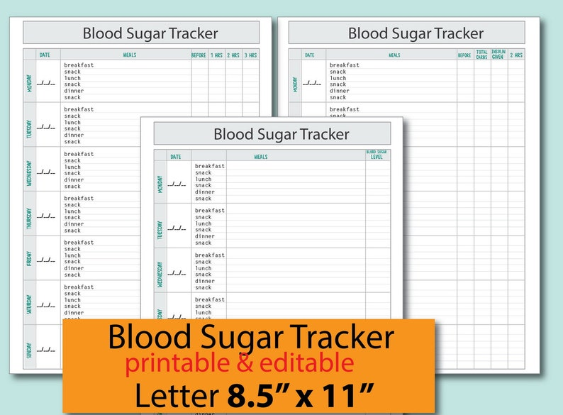 photo regarding Printable Glucose Log named Blood Sugar Tracker,Blood Glucose Log ,Diabetic - Printable/ Editable for Exercise, Health care, Blood Sugar Log - Prompt Obtain