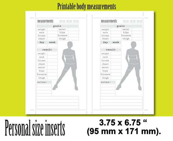 weight loss tracker personal size planner inserts body
