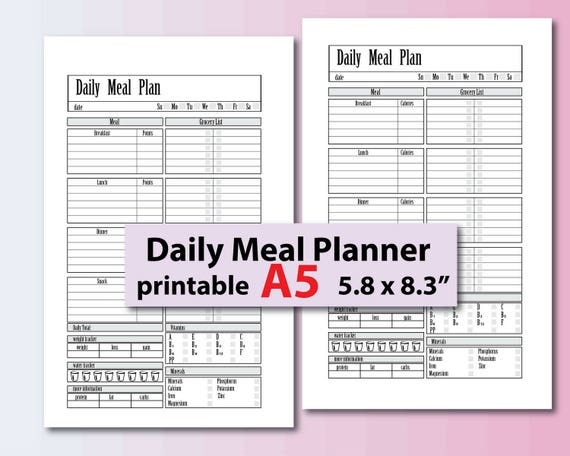 meal planner printable weight loss journal food journal etsy