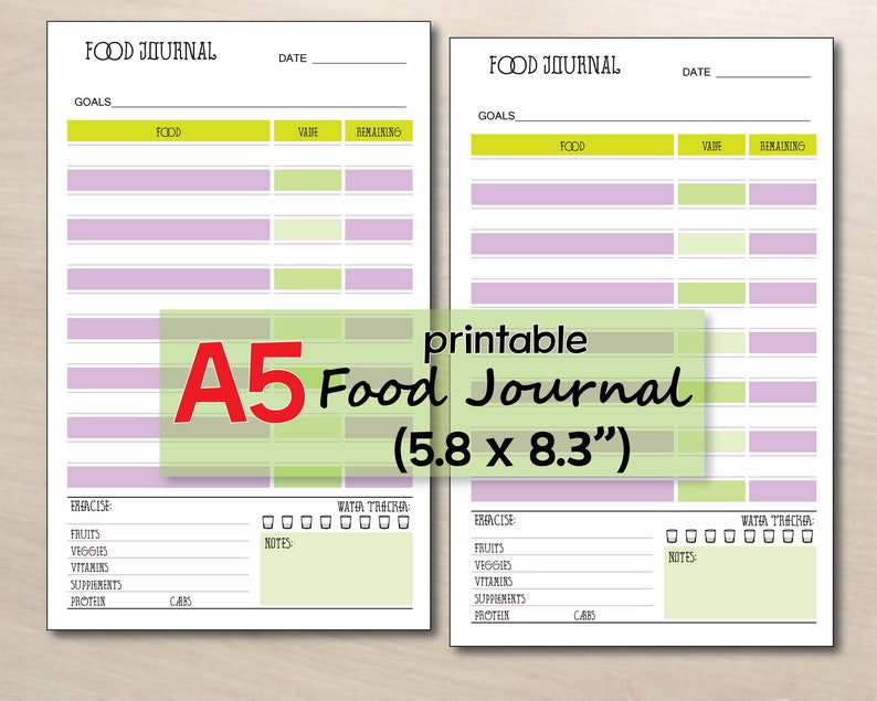 picture relating to Printable Food Journal titled printable food items magazine, food items diary template, Facts tracker, foods log A5 planner inserts, printable foodstuff tracker - fast down load