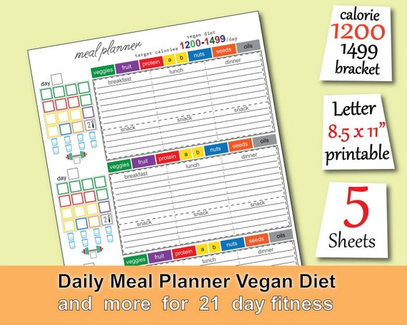 image about Printable 1200 Calorie Meal Plan named Vegan Supper Program 1200 Energy Tracker Grocery Listing Vegan Eating plan Training Calendar and added. Simple toward Seek the services of 21 working day health and fitness planner -PDF