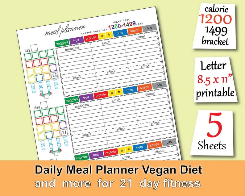 Vegan Meal Plan 1200 Calories Tracker Grocery List Vegan Diet Workout  Calendar and more  Easy to Use 21 day fitness planner -PDF