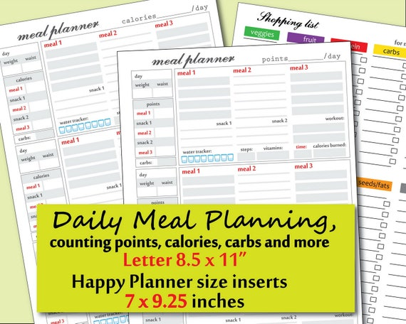 photograph regarding Weight Watchers Point Tracker Printable identify Foodstuff Magazine printable, Meals Monitor printable, information, energy observe and further ideal for bodyweight watchers planner inserts-Instantaneous Down load