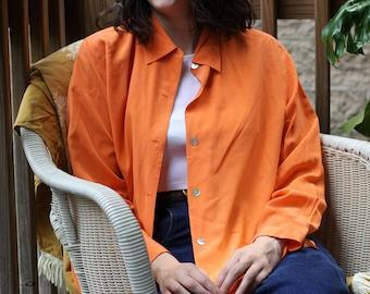 Vintage Bloomingdales Bright Orange Silk Blouse HLo6ch