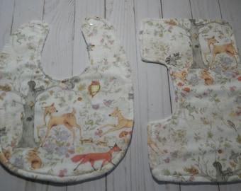 Woodland Animal Bib and Burp Cloth Set
