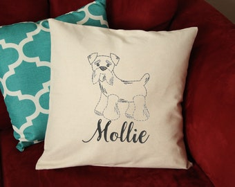 Schnauzer Dog Pillow - Schnauzer Pillow Personalized - Schnauzer Dog Gift - Custom Dog Pillow - Dog Pillow with Name - Embroidered