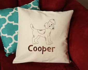 Jack Russell Terrier Dog Pillow - Jack Russell Pillow Personalized - Dog Gift - Custom Dog Pillow - Dog Pillow with Name - Embroidered