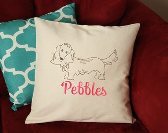Dachshund Dog Pillow - Dachshund long hair Pillow Personalized - Dachshund Dog Gift - Custom Dog Pillow - Dog Pillow with Name - Embroidered