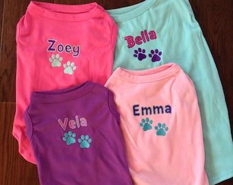 07433950b Personalized Dog Shirt - Custom Dog Shirt - Dog Paw Print Name T Shirt -  Custom Name Dog Tee - Puppy Clothing - Embroidered Name Dog Shirt