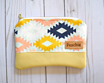 Ready to ship genuine leather clutch, april rhodes clutch, april rhodes bag, aztec clutch, tribal bag, leather pouch, aztec pouch, geometric