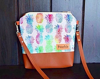 Rainbow Pineapple crossbody bag, Vegan Leather crossbody purse, tropical crossbody bag, tropical purse, tropical bag, pineapple bag, summer