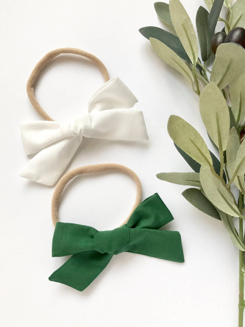 White /& Green Schoolgirl Bows