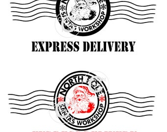 2 X Santa North Pole Express Delivery Postmark Transparent JPEG And PNG Image Only Commercial Use