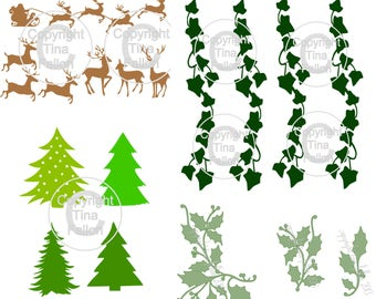 Christmas Decorations set, holly, ivy, deer and trees